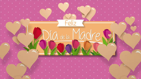 Feliz Dia de la Madre - Happy Mothers Day in Spanish language - Greeting Card. Message in white Animation