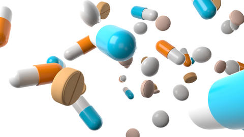 Various medicine and pills on white background Animation