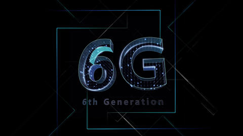 6G Digital Network technology 6th generation mobile communication concept Background 1 F2 black 4k Animation