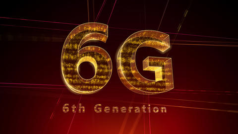 6G Digital Network technology 6th generation mobile communication concept Background 1 F1 red 4k Animation