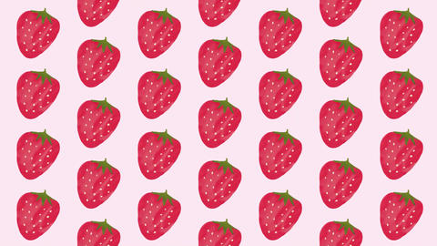 Pink and red cute strawberry background material pattern Animation