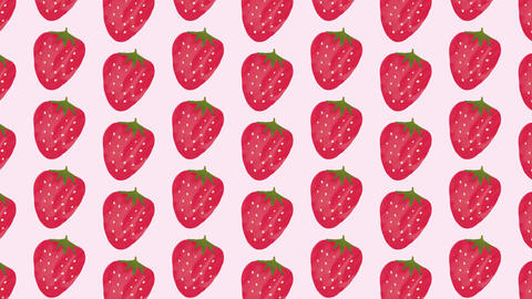 Pink and red strawberry background material pattern Animation