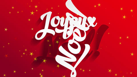 french merry christmas joyeux noel white calligraphy offset with 3d effect over red scene with Animation