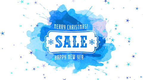 merry christmas smiling new year freeze selling festive science concept over splatter of blue Animation