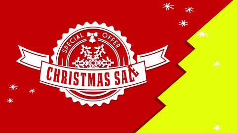 christmas sale special offer ad with round impression on red background with green tree detail and Animation