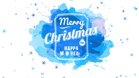 merry christmas and cheerful new year publicity display with white letters in classic border stamped Animation