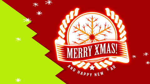merry xmas and laughing new year community card with white print on scene separate in red paper and Animation