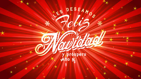 xmas invitation with spanish banner and motivating script feliz navidad y prospero ano nuevo on Animation