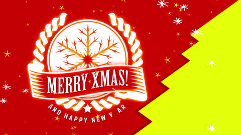 merry christmas and joyful new year family cardboard with white imprint on background apart in red Animation