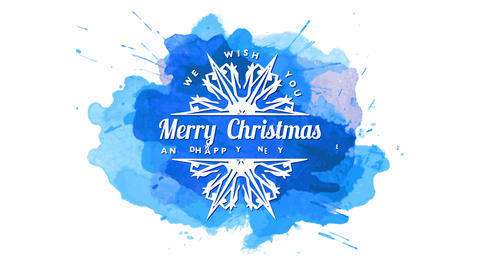 festive quote we wish you merry christmas and happy new year written on sharp snowflake over blue Animation