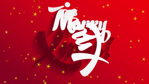 merry christmas white writing with 3d and lightning effect shading on red wrapping paper surface Animation