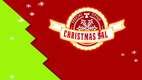 christmas trading special proposal advert with round impression on red scene with green timber Animation