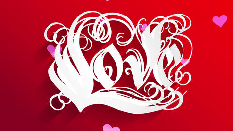 valentines day reception card script art with white ornamental forms forming language affection Animation