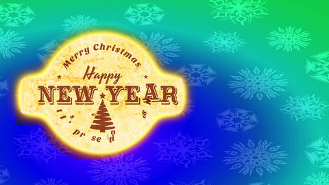 its presents time merry xmas and cheerful new year message with cork mark over green and blue Animation