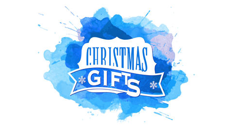christmas gifts season with old style frame with snowflakes strip decorating over blue watercolor Animation