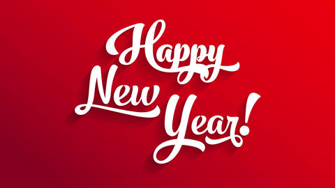 white 3d calligraphy happy new year text on red background with directional light creating shadows Animation