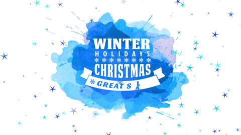 winter vacation christmas and new year best sale announcement with creased award and snowflake line Animation