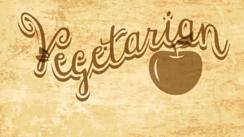 vegetarian food promotional sign for cuisine business with apple drawing and leafs decorating text Animation