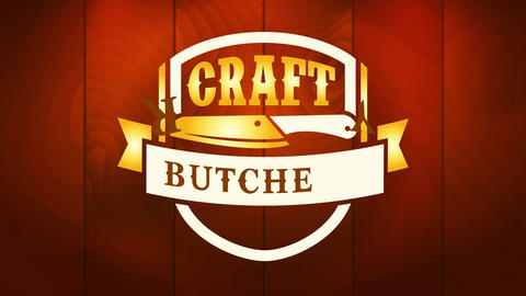 meat industry business advertisement using craft butchery name over stylized knife graphic on Animation