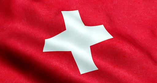 waving fabric texture of the flag of switzerland, red background and white cross Live Action