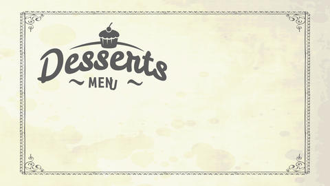 treat menu cover for classic bistro with cake sketch and flowing letters on aged cardboard scene Animation