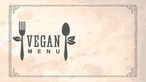 vegan foodstuff coupon concept for healthful nourishment restaurant with recycled cutlery decorated Animation