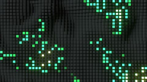 Matrix of green illuminating cubes VJ loop 3D render animation Animation
