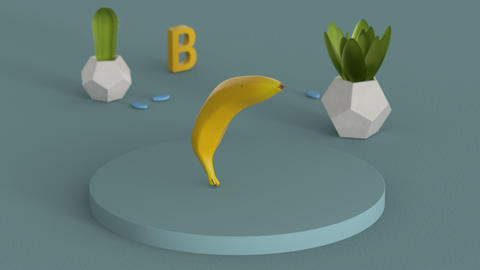 Still life with inflating banana 3D render seamless loop animation Animation