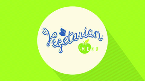 simple vegetarian food presentation card idea with playful typography on creamy circle over green Animation