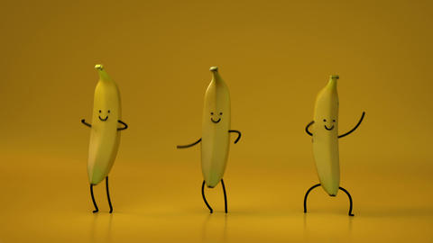 Cute dancing bananas seamless loop 3D render animation Animation