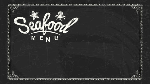 seafood day unique advertisement text for bistro with white chalk handwriting on black aged board Animation