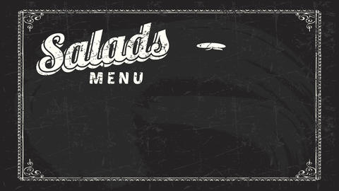 salads menu art on black blackboard with cursive typography handling white retro style chalk with Animation