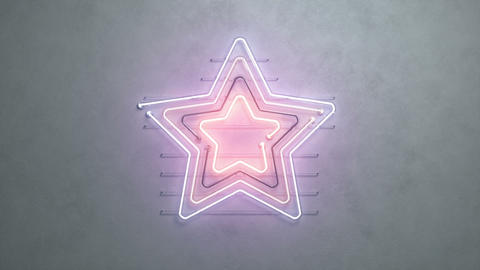 Star shaped neon signage on concrete wall 3D render seamless loop animation Animation