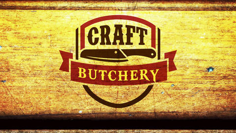 craft butchery retail business signboard with meat knife on vintage press mark over wooden texture Animation