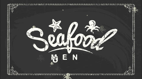 seafood day unique advertising script for dining room with white chalk handwriting on black Animation