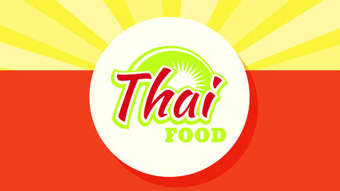 paper placemats idea for thai food restaurant using bright colors and sunburst giving a happy aspect Animation
