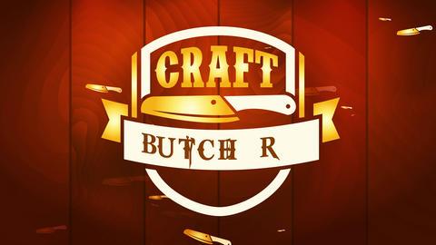 meat industry employment promotion manipulation craftsmanship butchery name over stylized knife Animation