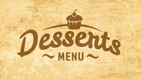 tasty desserts tag concept with cursive typography over golden vintage background for coffee shop or Animation
