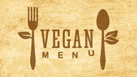 restaurant cooking healthy vegetarian vegan food concept art using eco friendly fork and spoon over Animation