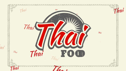 thai nourishment performance with worn out 70s style letters and shine graphical for asian bistro Animation
