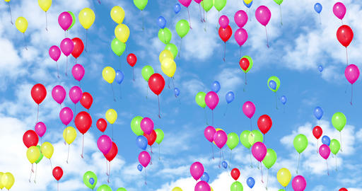 colorful balloons flying in the blue sky with white clouds, color red, yellow,green,pink,blue, party Live Action