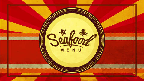 seafood brochure for coastal restaurant or retail sellers with red striped background and round Animation