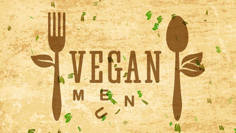 bistro warming healthy vegetarian vegan food concept art using eco friendly fork and silverware over Animation