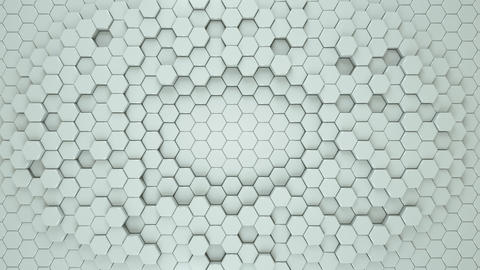 White geometric hexagonal seamless loop 3D render animation Animation