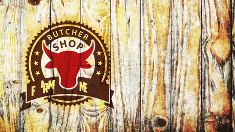 butcher store ranch meat bistro stencil fancy theme diagram with red cattle head over weathered Animation