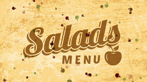 salads covering art for veggie organic food restaurant with 50s style printing over overused Animation