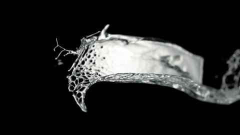 Slow motion image of water flow on a black background HD Live Action
