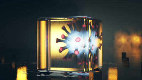 Virus isolated in glass cube 3D render seamless loop animation Animation