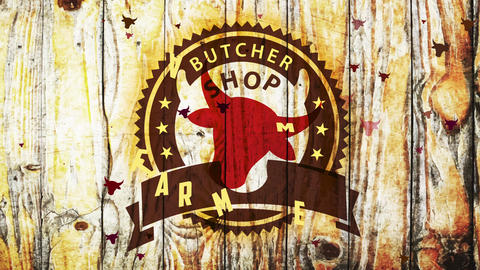 butcher store ranch meat restaurant stencil fancy idea chart with red cow head over weathered wooden Animation