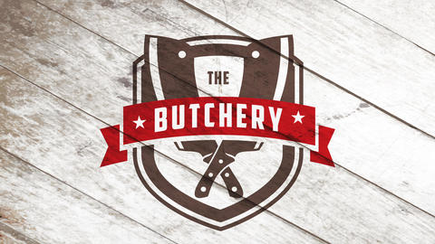 the butchery imposing brand name for meat retail or wholesale sellers with big knives on wood Animation